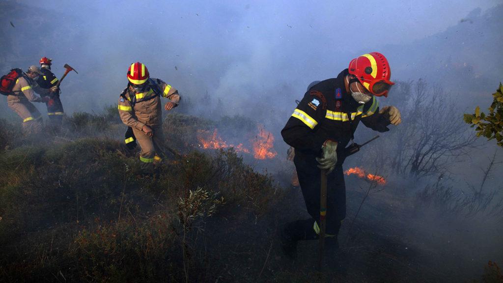Πυροσβέστες σε πυρκαγιά σε δάσος