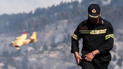 Πυροσβέστης σε κατάσβεση πυρκαγιάς σε δάσος