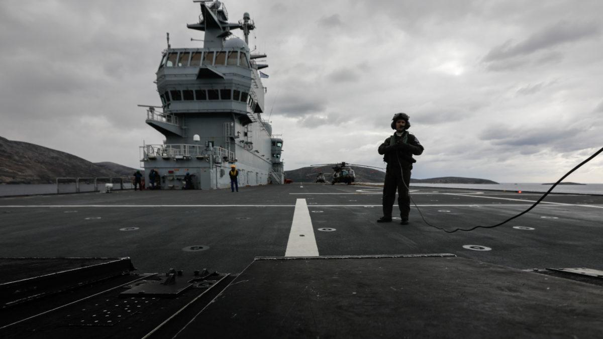 """Άσκηση """"Μέγας Αλέξανδρος""""-Γαλλικό ελικοπτεροφόρο πλοίο"""