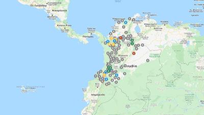 Χάρτης δολοφονημένων πρώην ανταρτών των FARC-EP