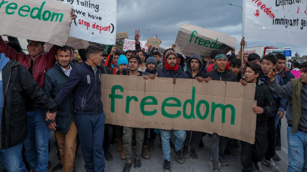 Μετανάστες διαδήλωση Μόρια Λέσβου