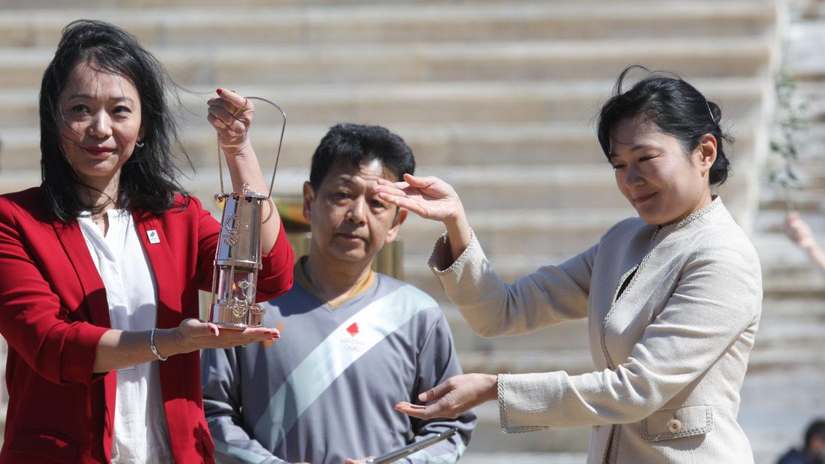Παράδοση της Ολυμπιακής Φλόγας στην Ιαπωνία