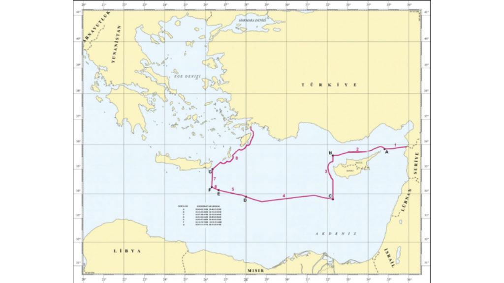 ΑΟΖ Τουρκίας σε Ανατολική Μεσόγειο