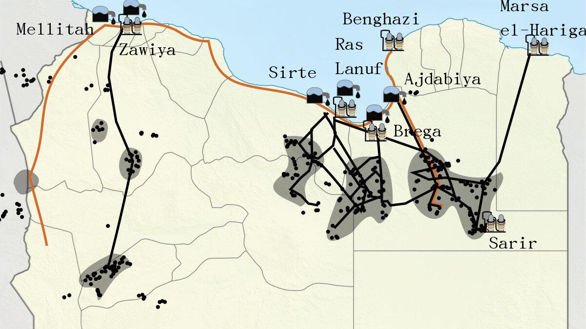 Χάρτης Λιβύη Πετρέλαιο
