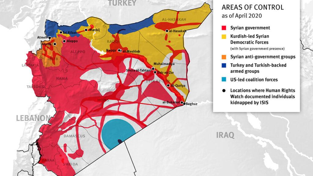 Χάρτης Συρίας με περιοχές ελέγχου από στρατεύματα - Απρίλιος 2020