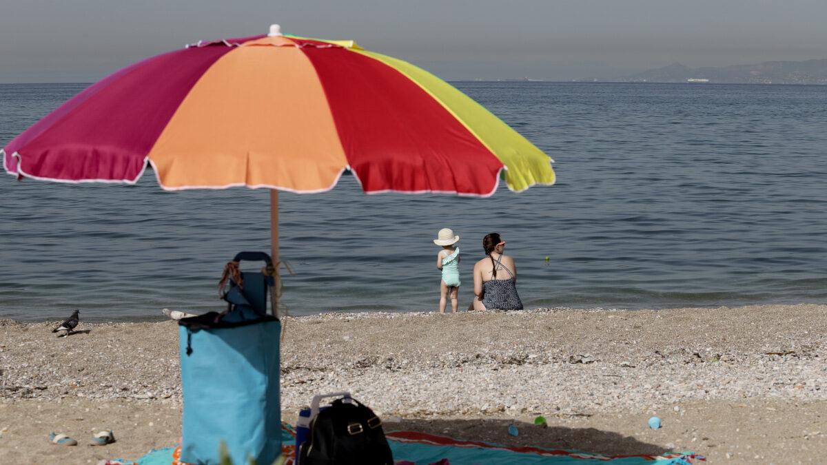 Παραλία Ομπρέλα Μητέρα Παιδί