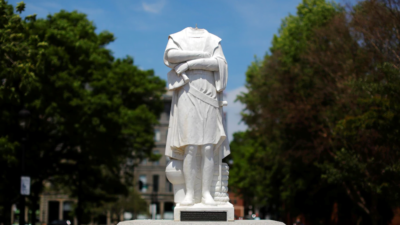 Αποκεφαλισμένο άγαλμα του Χριστόφορου Κολόμβου-ΗΠΑ