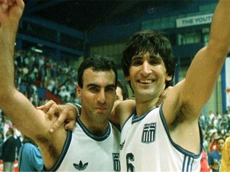 Αθλητισμός - Μπάσκετ - Ευρωπαϊκό, 1987 - Ελλάδα - Γιουγκοσλαβία - Παναγιώτης Γιαννάκης - Νίκος Γκάλης