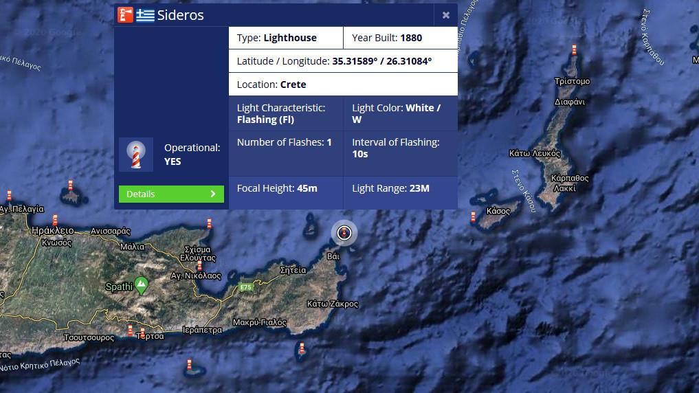 Χάρτης Φάρος Σίδερο / Πηγή: Marine Traffic