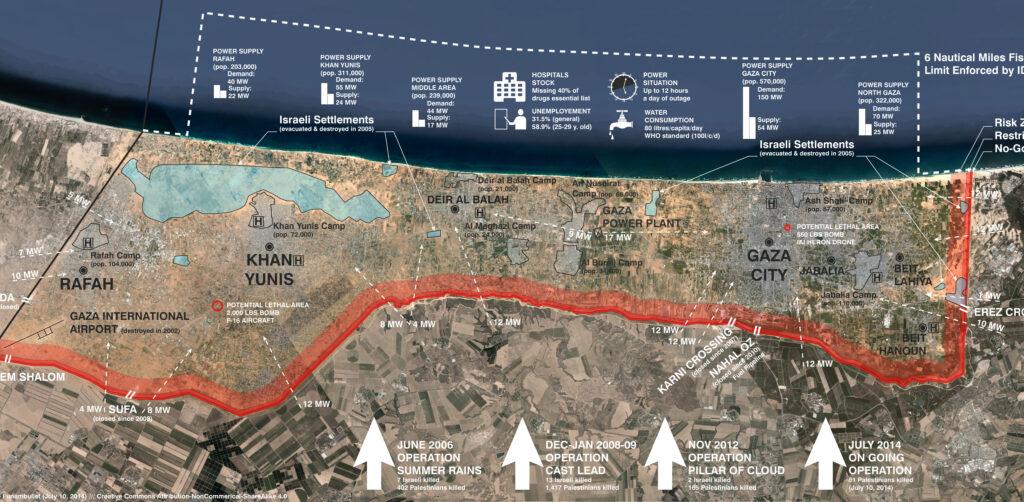 """Πληροφοριακός Χάρτης της Γάζας (Παλαιστίνη) όπως τον επεξεργάστηκε ο Λέοπολντ Λάμπερτ για λογαριασμό του """"FUNAMBULIST"""""""