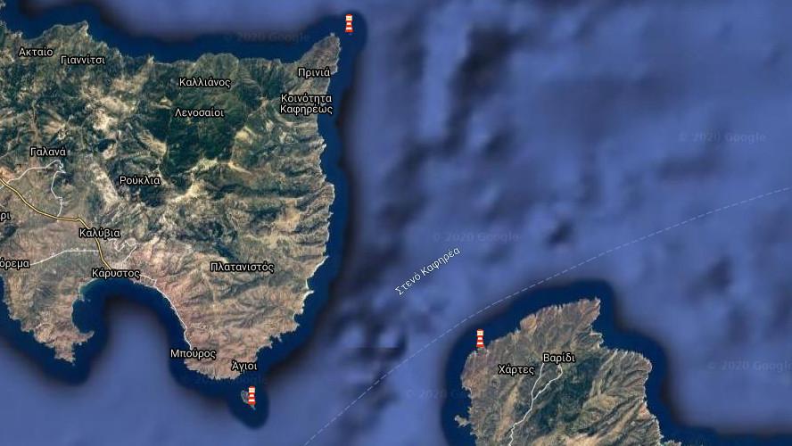 Χάρτης Φάροι Στενό Καφηρέα / Πηγή: Marine Traffic