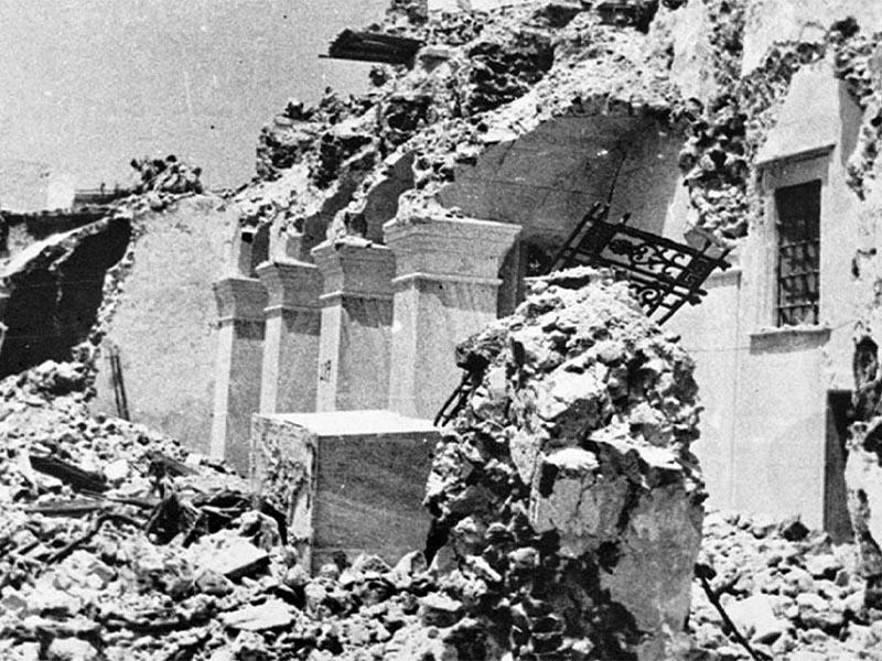 Σεισμός 1956 - ερείπια στη Σαντορίνη