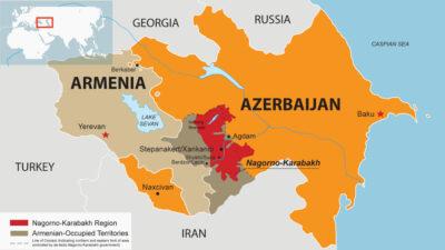 Χάρτης της περιοχής του νότιου Καύκασου, με τις διαφιλονικούμενες περιοχές πριν τον πόλεμο και την αναχάραξη των συνόρων μεταξύ Αζερμπαϊτζάν και Αρμενίας