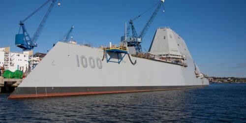 Το Αντιτορπυλικό του Αμερικανικού Ναυτικού Zumwalt - DDG1000 - Destroyer USS Zumwalt κατά την κατασκευή του στα Ναυπηγεία του BIW της Πολιτείας του Μέιν στις ΗΠΑ