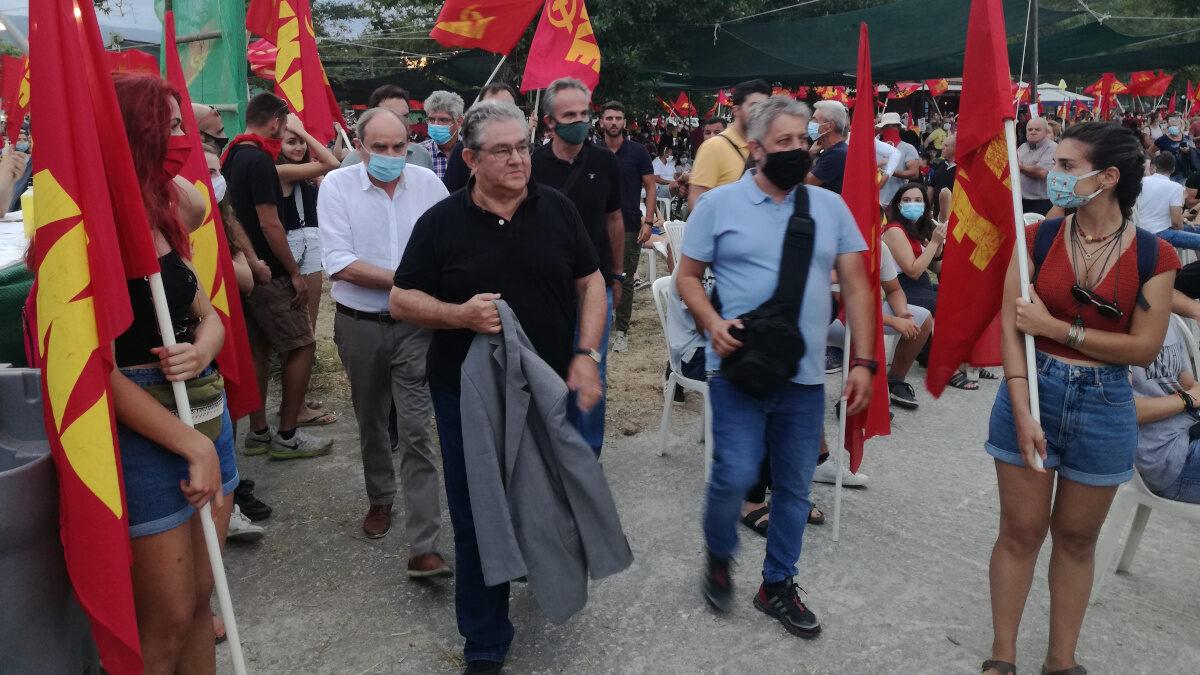 Δημήτρης Κουτσούμπας φεύγει απο 29ο Αντιιμπεριαλιστικό διήμερο στο Στόμιο Λάρισας