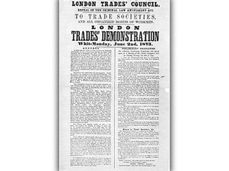 Αφίσα για διαδήλωση του Συμβουλίου των Συνδικάτων του Λονδίνου