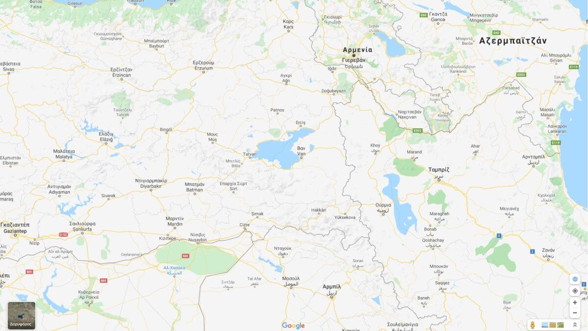 Χάρτης της Επαρχίας Βαν στην Τουρκία