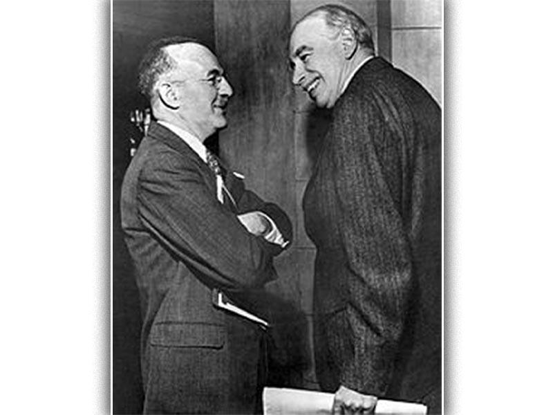 Ο Μπ. Κέινς (αριστερά) με τον υπ. Οικονομικών των ΗΠΑ Τζ. Γουάιτ στη Διάσκεψη