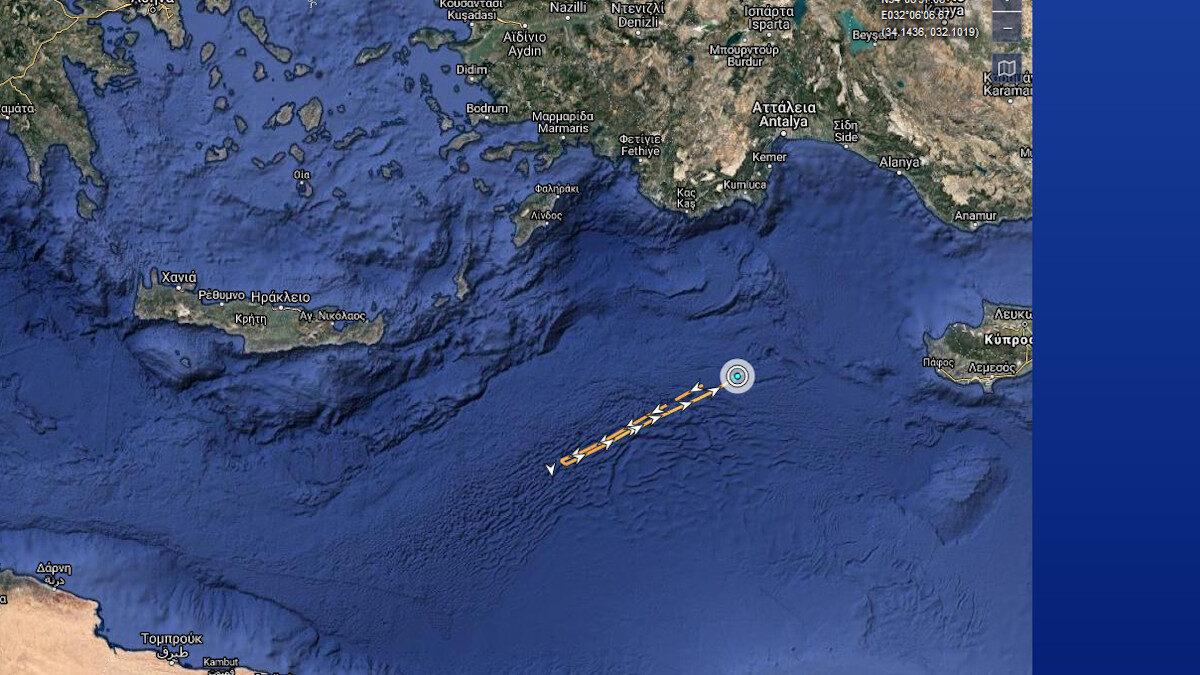 Οι κινήσεις του τουρκικού ερευνητικού πλοίου 10 με 12/8/2020 στην ελληνική υφαλοκρηπίδα