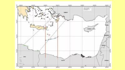 Τα πέντε σημεία (A, B, C, D, E) που συμφώνησαν τα Υπουργεία Εξωτερικών για τον καθορισμός ΑΟΖ και Υφαλοκριπίδας μεταξύ Ελλάδας και Αιγύπτου