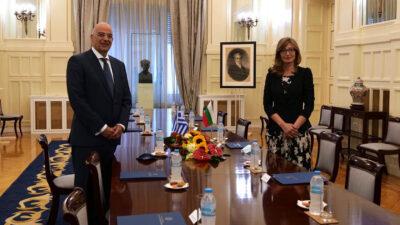 Συνάντηση Υπουργού Εξωτερικών της Βουλγαρίας Εκατερίνα Ζαχάριεβα με τον Νίκο Δένδια, Υπουργό Εξωτερικών της Ελλάδας