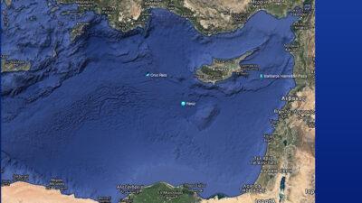 Οι θέσεις των τουρκικών πλοίων, του ερευνητικού Oruc Reis, του πλωτού γεωτρύπανου Yavuz και του ερευνητικού Barbaros