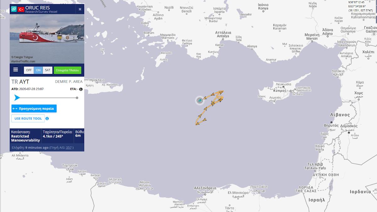 Το Oruc Reis 86NM νότια του Καστελόριζου, άνωθεν της ελληνικής υφαλοκρηπίδας τώρα 28/08/2020 στις 8πμ