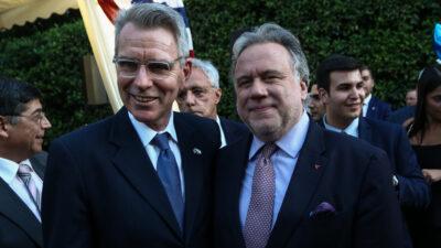 Τ. Πάιατ και Γ Κατρούγκαλος - Στιγμιότυπο από την δεξίωση στην Αμερικάνικη πρεσβεία,για τον εορτασμό της επετείου της της Ανεξαρτησίας την 4η Ιουλίου, Τετάρτη 3 Ιουλίου 2019
