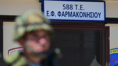 Στρατιώτης στο Φυλάκιο Φαραμακονησίου του 588 Τάγματος Εθνοφυλακής