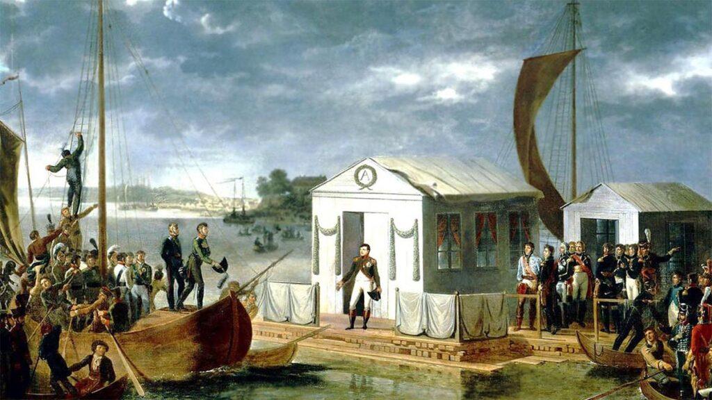 Η υπογραφή της Συνθήκης μεταξύ του Ναπολέοντα και του Τσάρου Αλέξανδρου Α'
