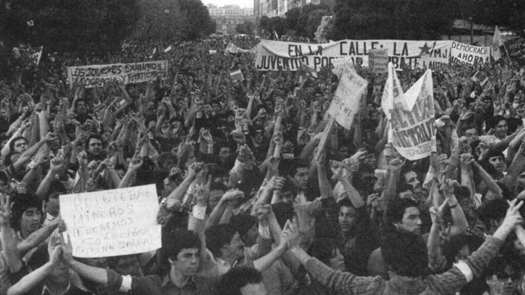 Από τις διαδηλώσεις ενάντια στη δικτατορία του Πινοσέτ, 1983