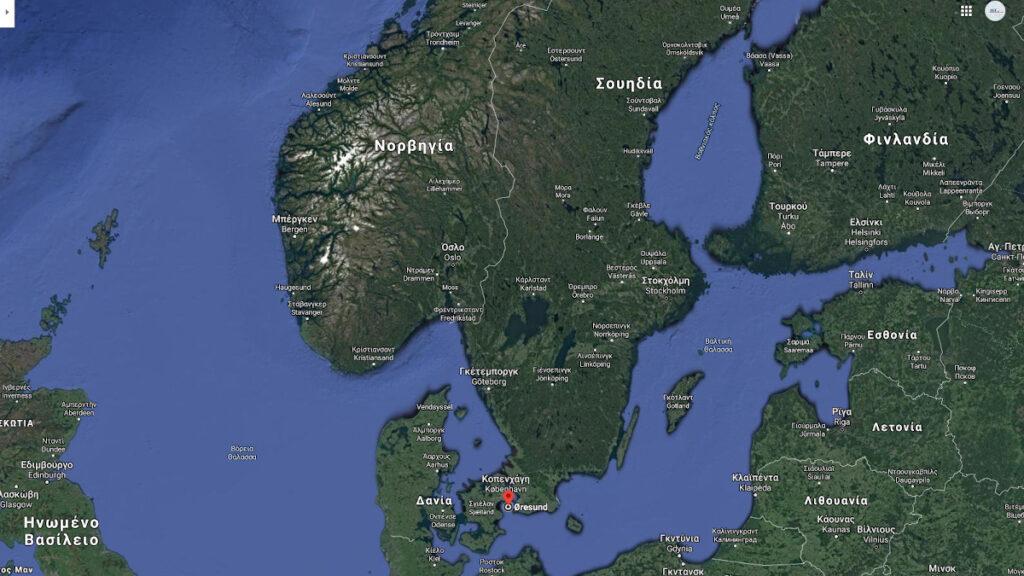 Χάρτης Βαλτικής και Βόρειας Θάλασσας - Σημείο σύγκρουσης Ρωσικής Φρεγάτας F311