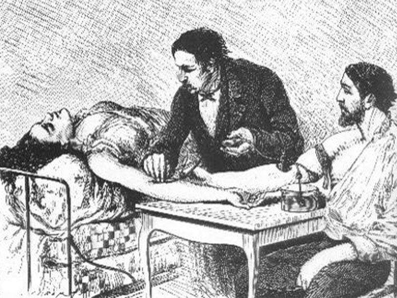 Σκίτσο που αναπαριστά μετάγγιση αίματος