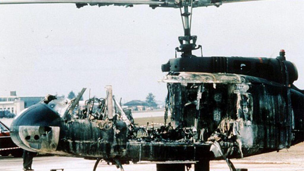 Το ελικόπτερο που επιβιβάστηκαν οι Παλαιστίνιοι με τους Ισραηλινούς ομήρους, μετά την επέμβαση της Γερμανικής αστυνομίας