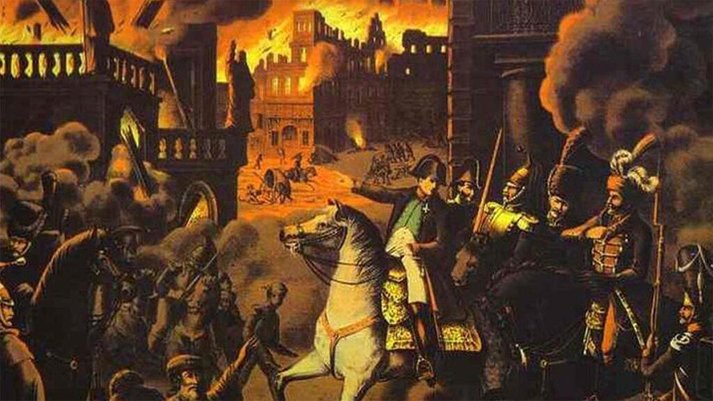 Πίνακας που αποτυπώνει την είσοδο του Ναπολέοντα στη φλεγόμενη Μόσχα