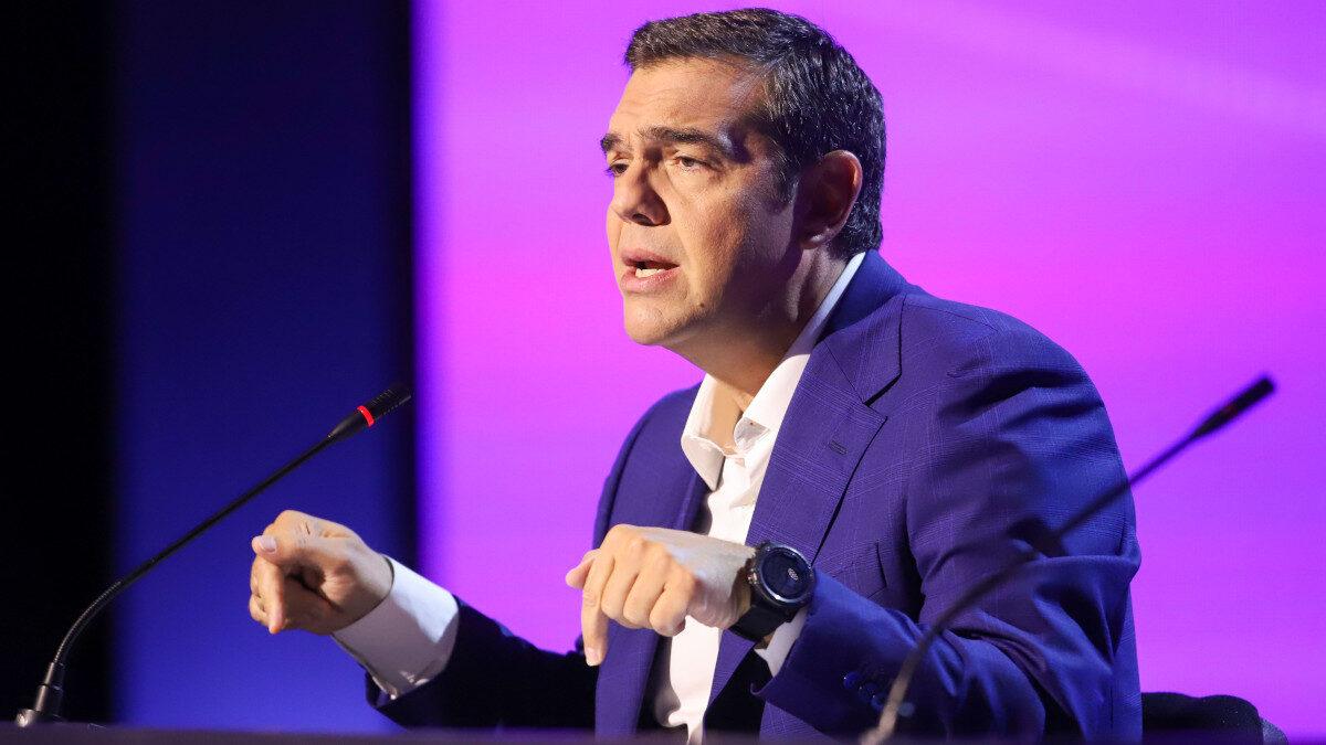 Ο Αλέξης Τσίπρας στη συνέντευξη τύπου στη Θεσσαλονίκη στις 20/09/202