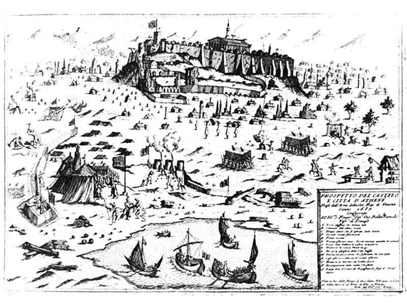 Σχέδιο που αναπαριστά τον βομβαρδισμό της Ακρόπολης από τις Ενετικές δυνάμεις του Μοροζίνι
