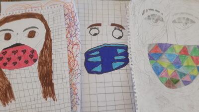 Ζωγραφιά παιδιών με μάσκα