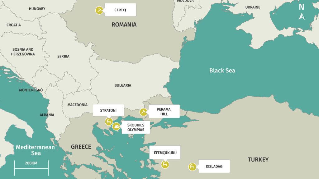 Χάρτης των επιχειρήσεων της Eldorado Gold σε Ρουμανία, Ελλάδα και Τουρκία