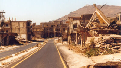 Εικόνα από την κατεστραμμένη πόλη Κουνάιτρα της Συρίας στα υψίπεδα του Γκολάν που βρίσκονται υπό την κατοχή του Ισραήλ από το 1974
