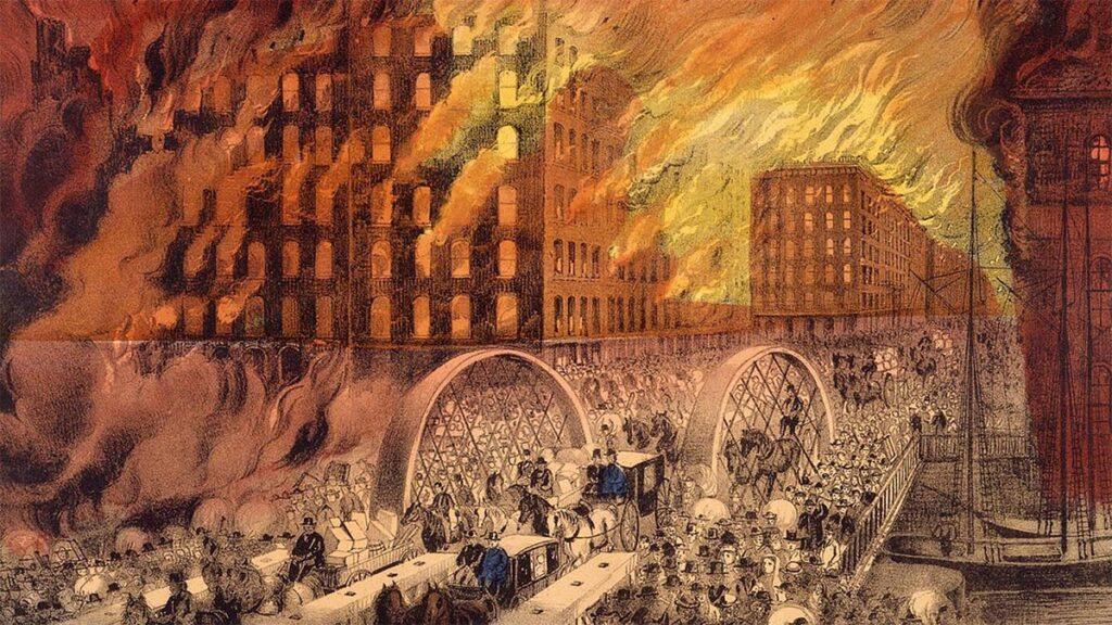 Γκραβούρα που αποτυπώνει την πυρκαγιά στο Σικάγο το 1871