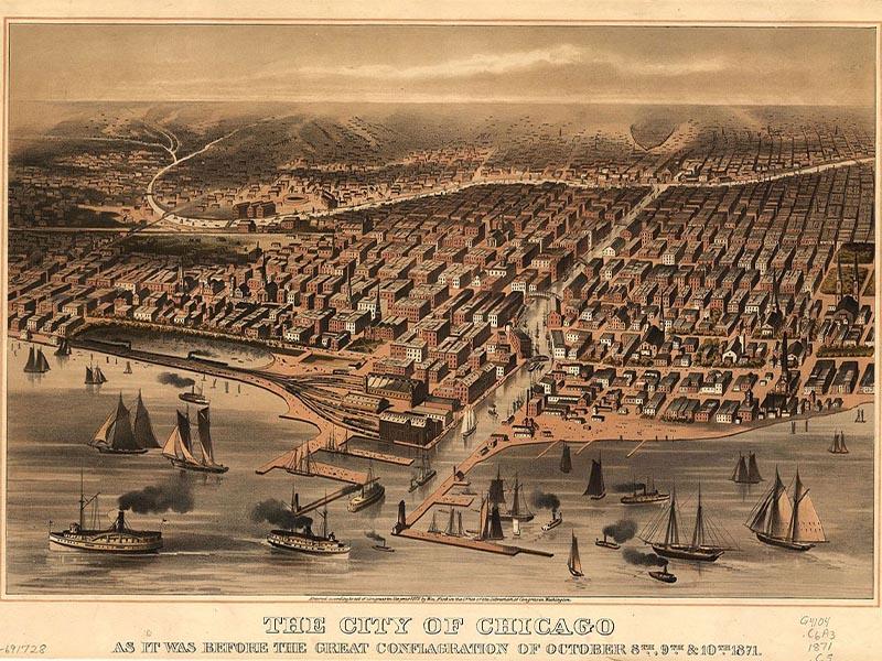 Χάρτης του Σικάγο πριν την πυρκαγιά