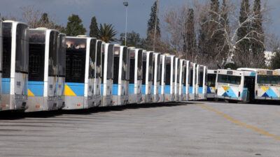 Λεωφορεία στο αμαξοστάσιο του Βοτανικού, Αθήνα