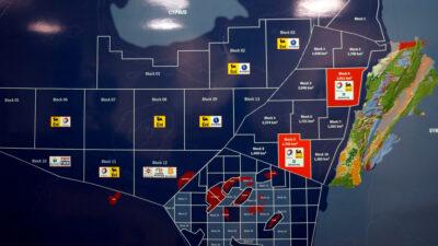 Xάρτης που δείχνει τα 10 υπεράκτια τμήματα που ο Λίβανος παραχώρησε σε διεθνείς εταιρείες για διερευνητικές γεωτρήσεις