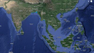 Χάρτης της περιοχής του Ινδικού και Ειρηνικού Ωκεανού