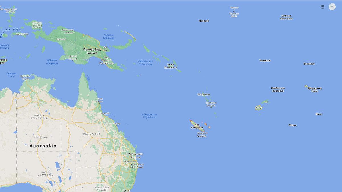 Χάρτης Δυτικού Ειρηνικού - Νέα Καληδονία, Γαλλία