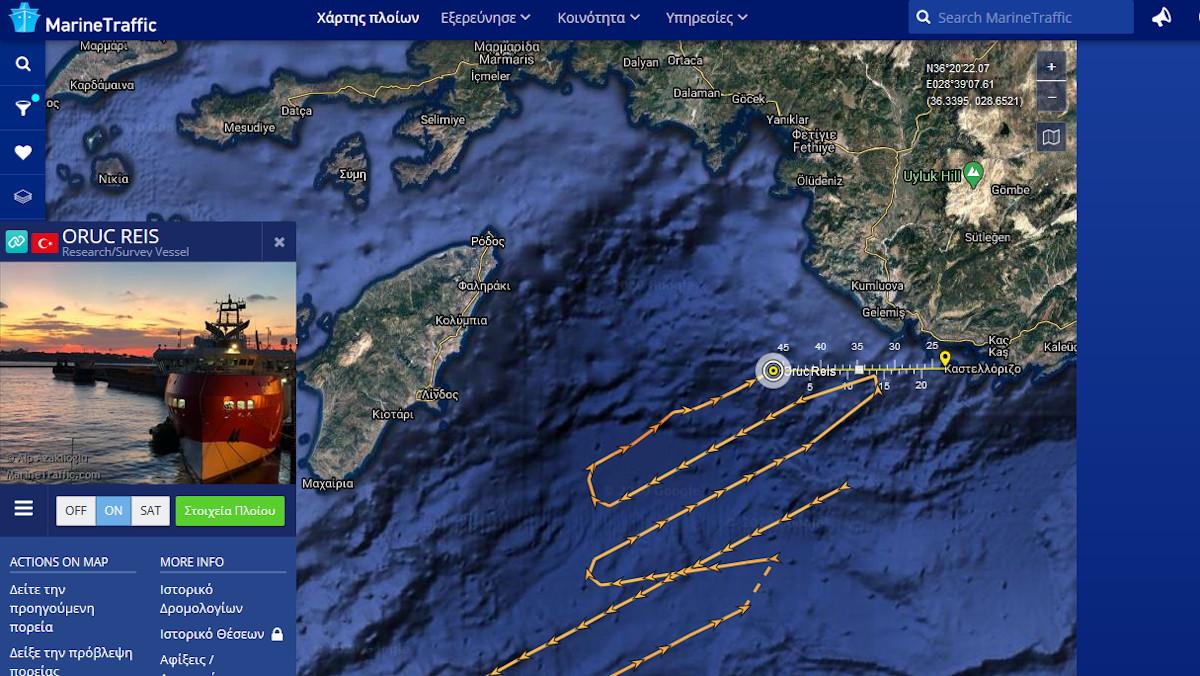 Η θέση του «Oruc Reis» τωρα (23/10/2020, 11:10) και η πορεία του τις προηγούμενες ώρες