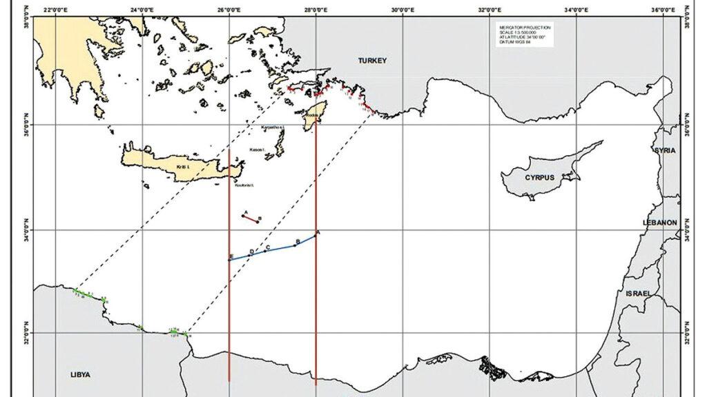 Χάρτης με τα όρια του τουρκολιβυκού συμφώνου και την μερική οριοθέτηση ΑΟΖ μεταξύ Ελλάδας και Αιγύπτου