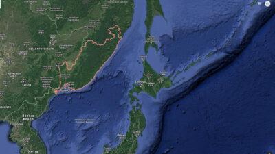 Χάρτης της Θάλασσα της Ιαπωνίας, μεταξύ Ιαπωνίας, Ρωσίας και Κορεατικής Χερσονήσου