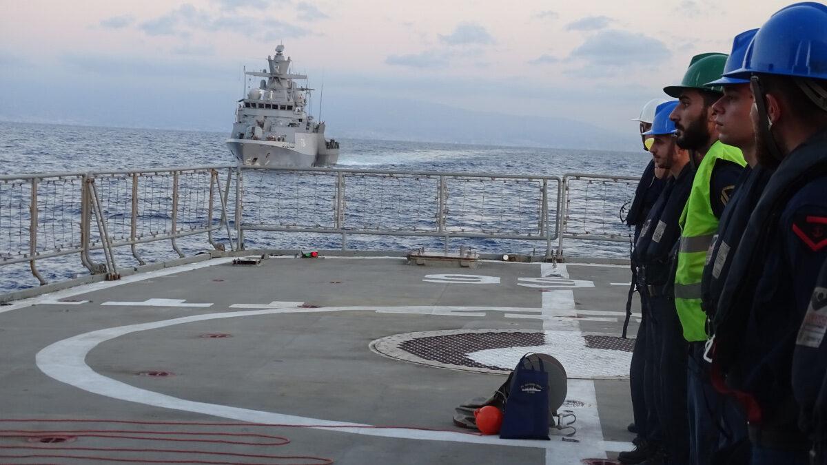 Συνεκπαίδευση της Φρεγάτας ΝΙΚΗΦΟΡΟΣ ΦΩΚΑΣ με τη γερμανική Κορβέτα FGS LUDWIGHAFEN AM RHEIN στη θαλάσσια περιοχή δυτικά του Λιβάνου στο πλαίσιο της επιχείρησης UNIFIL MAROPS του ΟΗΕ